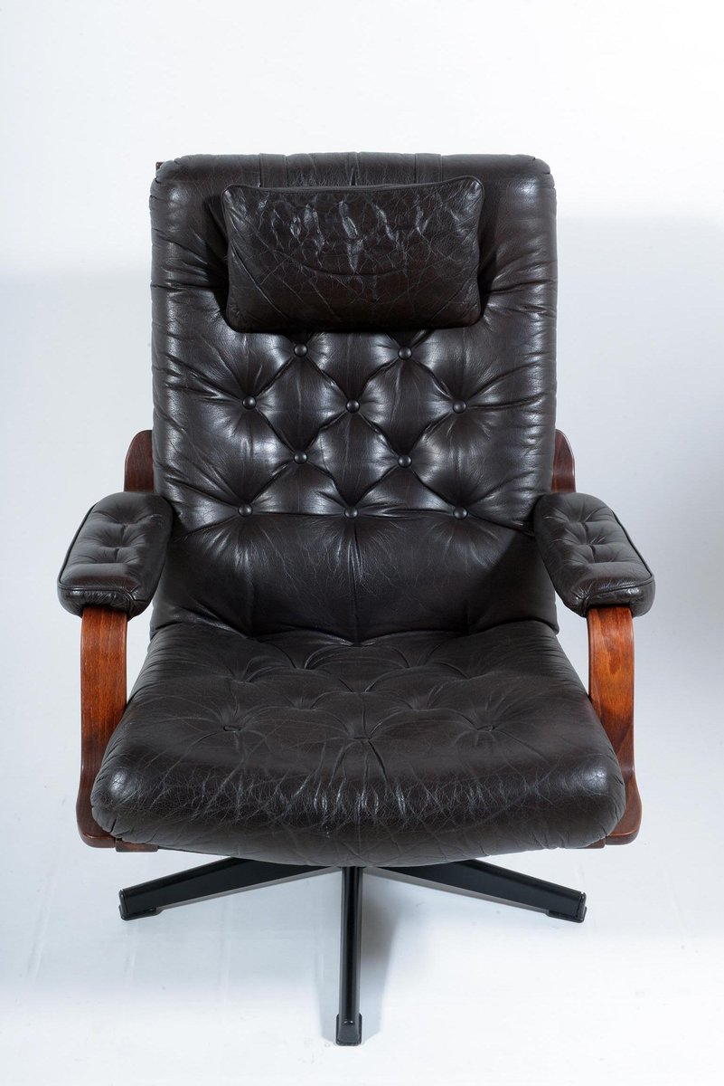 Italian Black Leather Swivel Armchairs, 1960s, Set of 2 ...