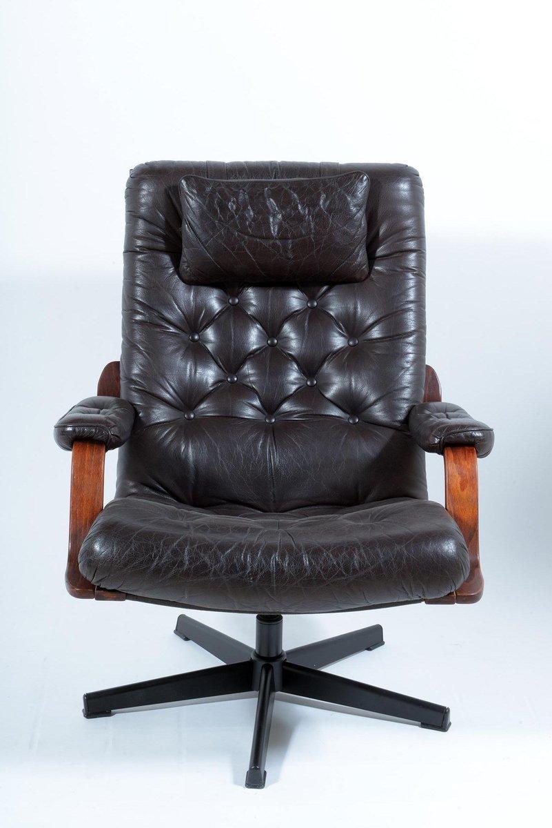 Italian Black Leather Swivel Armchairs, 1960s, Set of 2 ...