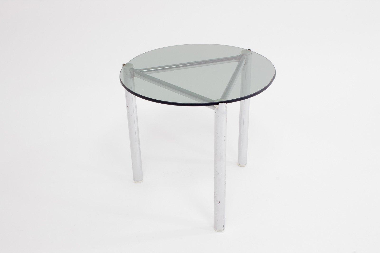 Side Table With Chrome Frame U0026 Glass Top, 1960s