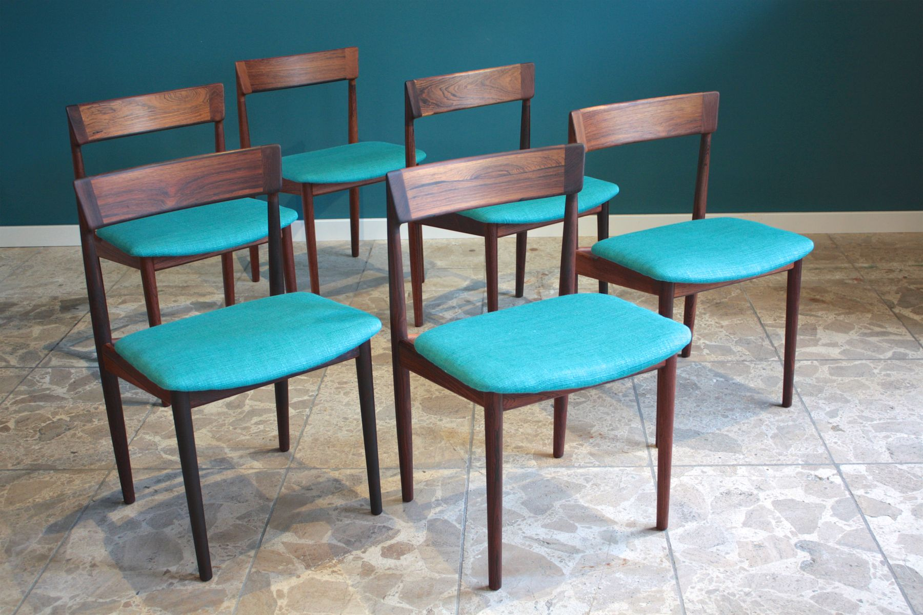 Mid Century 39 Dining Chairs by Henry Rosengren Hansen for Brande