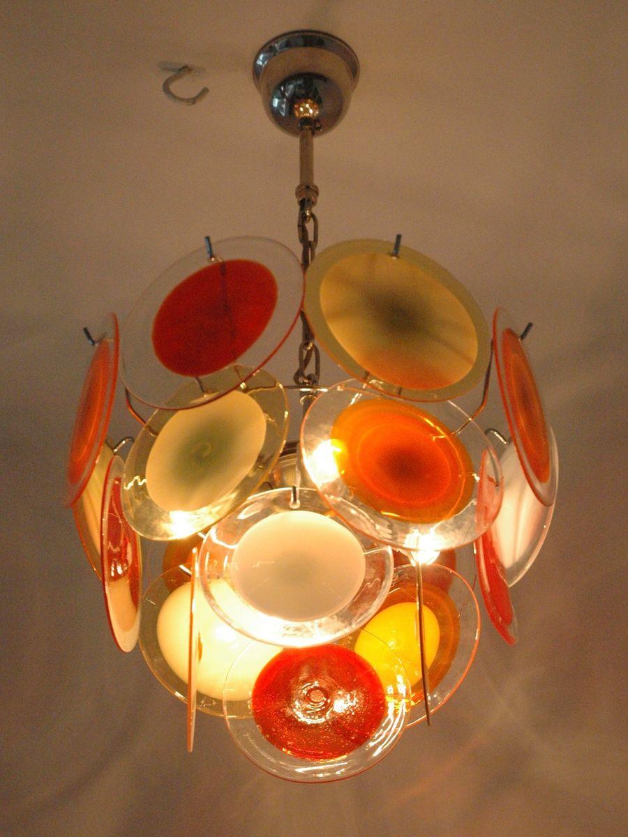 mehrfarbiger italienischer vintage kronleuchter mit 18 murano glasscheiben von vistosi bei. Black Bedroom Furniture Sets. Home Design Ideas