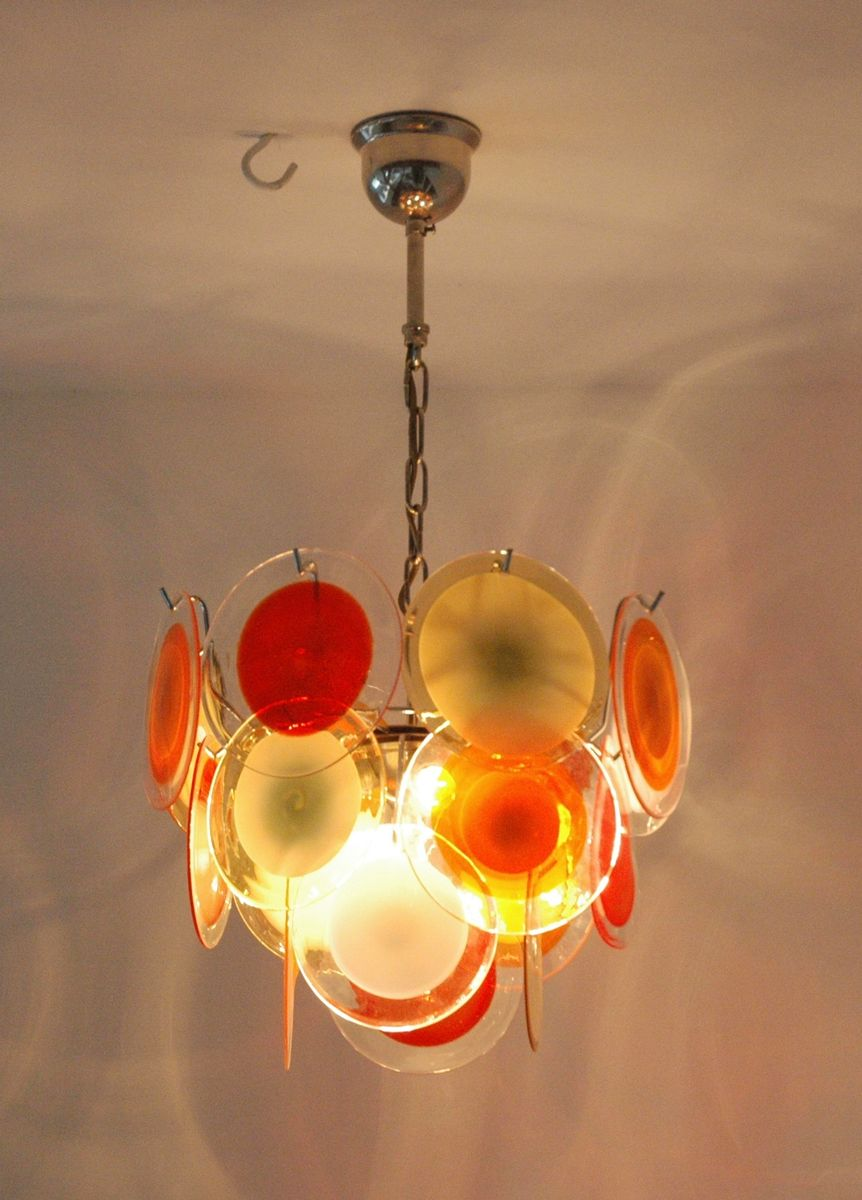 Vintage Multicolor Italian Chandelier With 18 Murano Glass