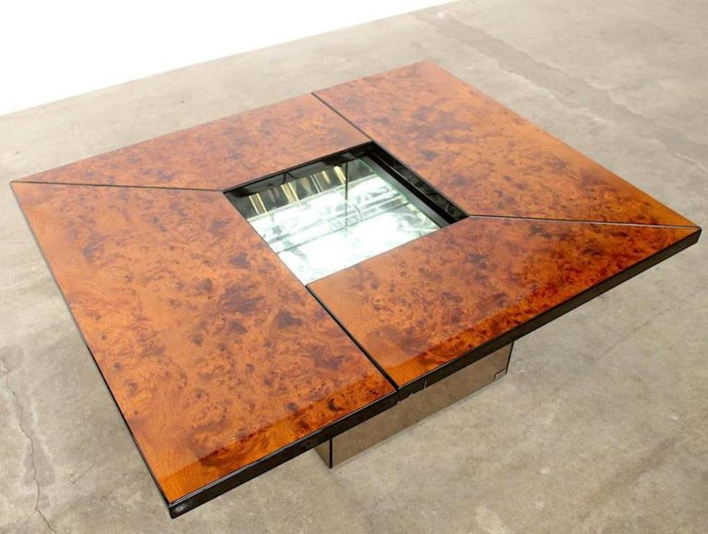 Vintage Burl Wood Lacquered Multi Functional Coffee Table By Paul Michel