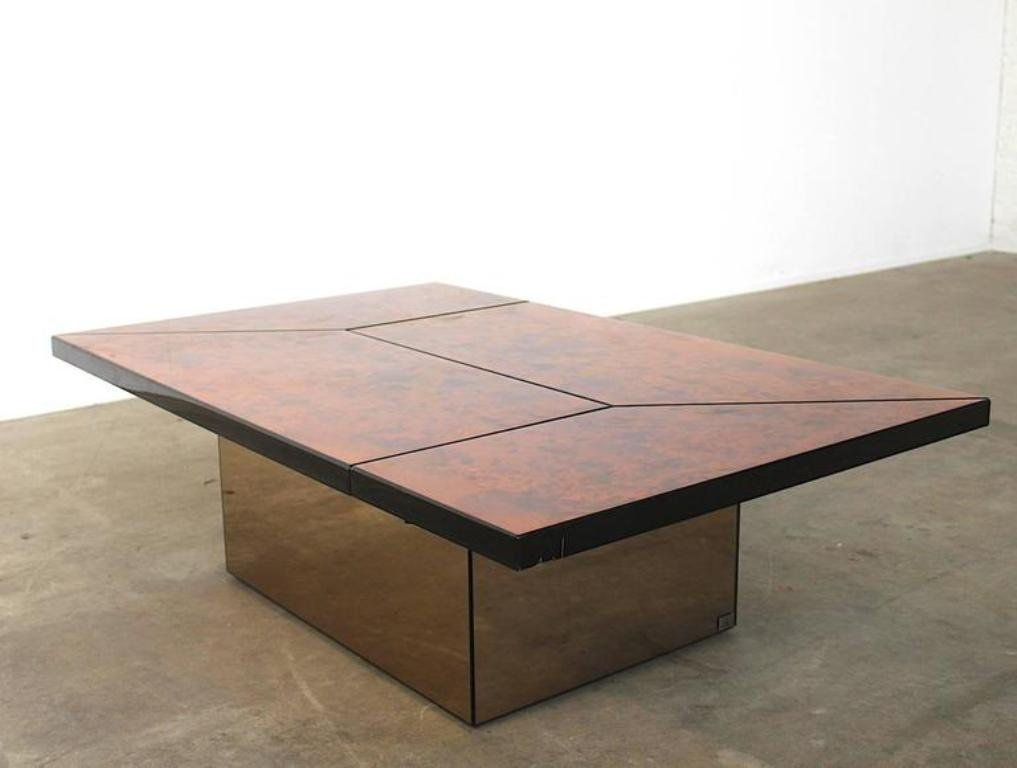 Vintage Burl Wood Lacquered Multi Functional Coffee Table By Paul Michel For Sale At Pamono