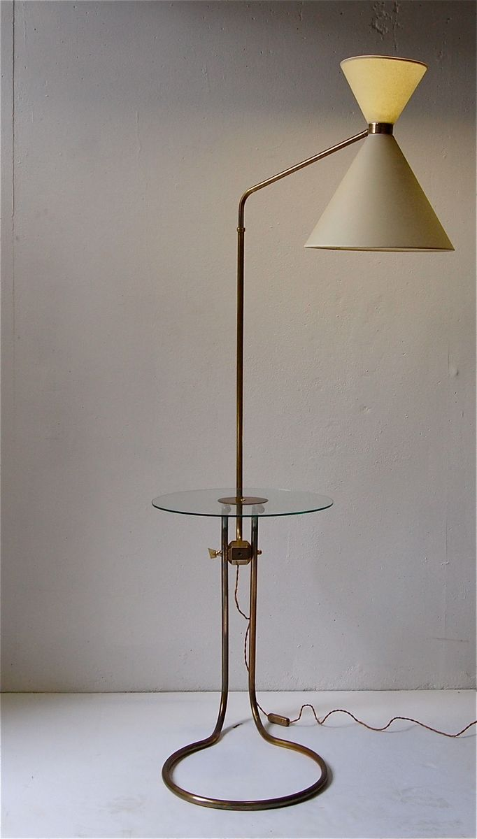 Mid century french floor lamp with glass shelf 1950s for for Floor lamp with shelves australia