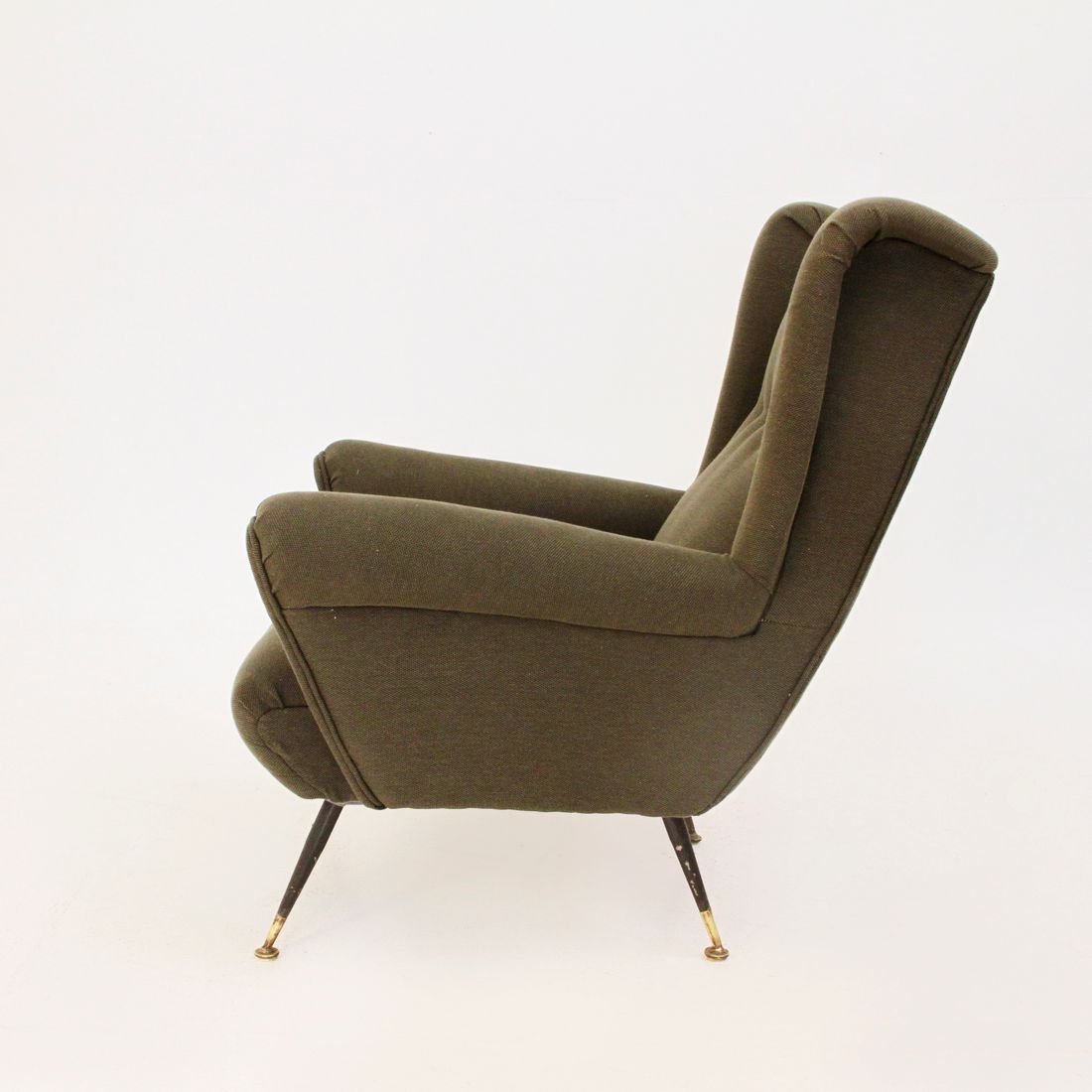 Mid Century Italian Military Green Armchair 1950s For