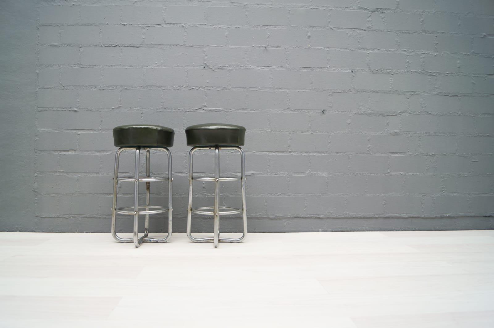 bauhaus art deco tubular steel stools set of 2 for sale. Black Bedroom Furniture Sets. Home Design Ideas