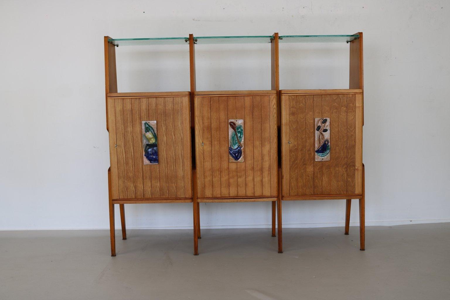 Favorito Mobile da parete con mensole in vetro, Italia, anni '50 in vendita  KI38