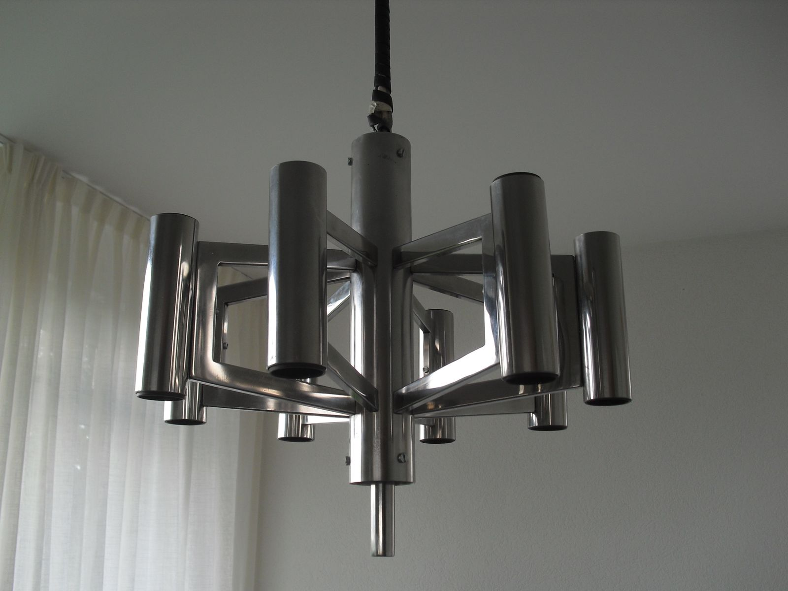 midcentury chrome chandelier s for sale at pamono - midcentury chrome chandelier s