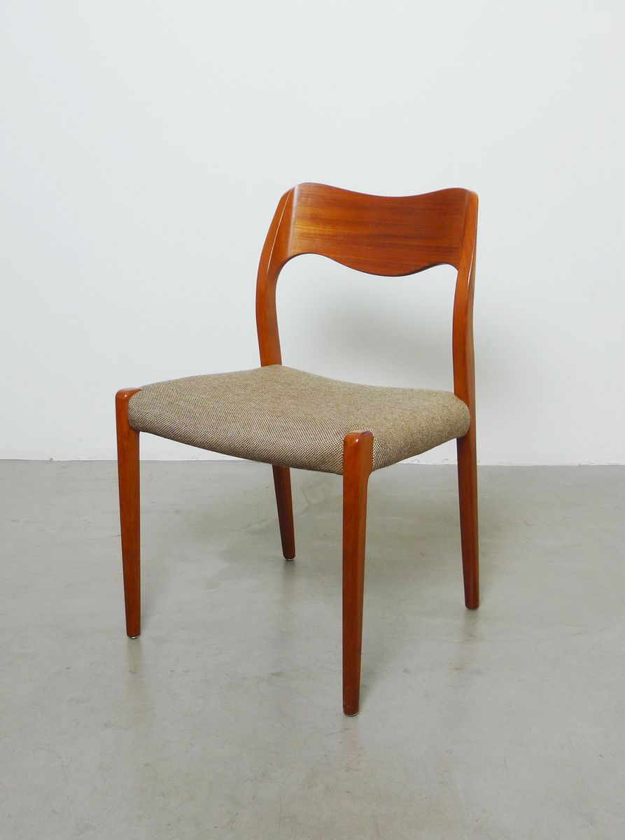 Danish model teak dining chairs by niels otto moller