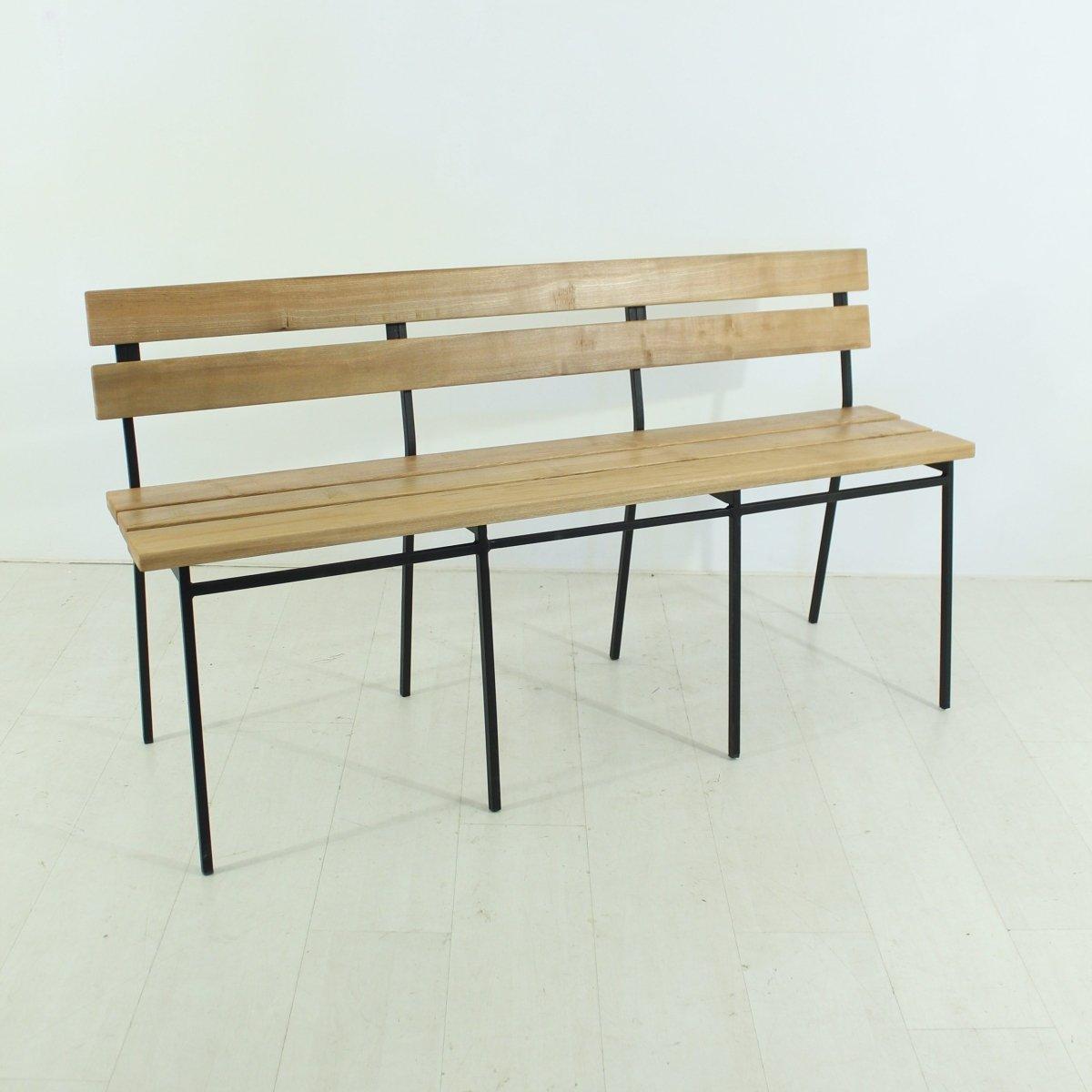 banc vintage en ch ne avec dossier 1960s en vente sur pamono. Black Bedroom Furniture Sets. Home Design Ideas