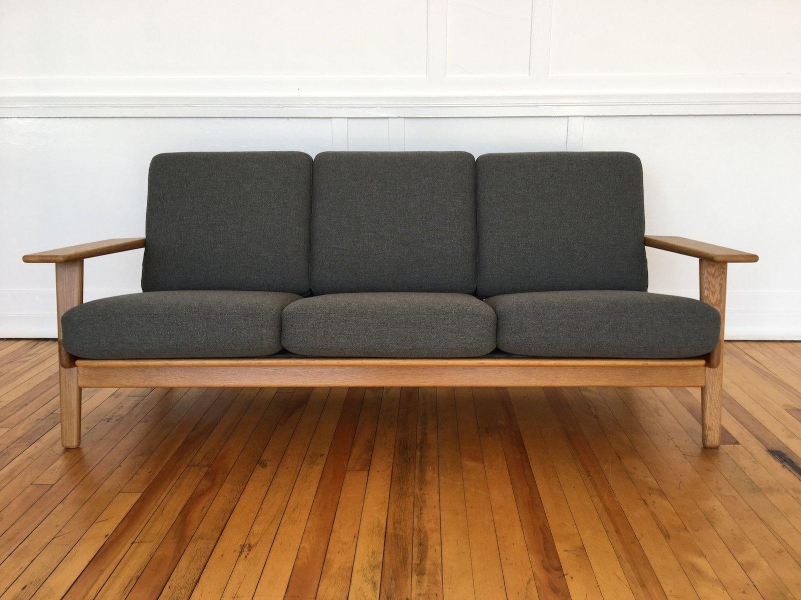 Mid Century Danish Model Ge 290 Oak Plank Sofa In Svensson Wool By Hans Wegner For Getama For