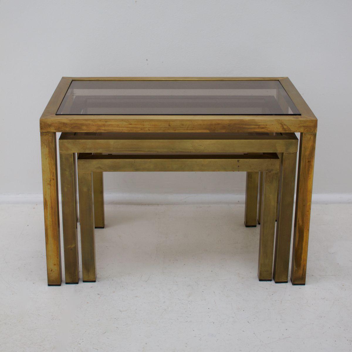 satztische mit rauchglas tischplatten 1970er bei pamono. Black Bedroom Furniture Sets. Home Design Ideas