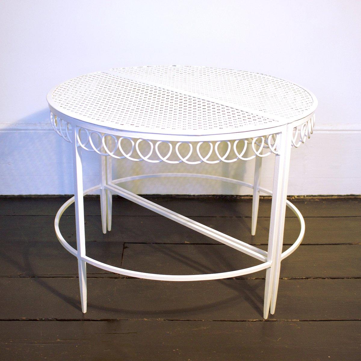 Vintage Demi Lune Tables By Mathieu Matégot, Set Of 2
