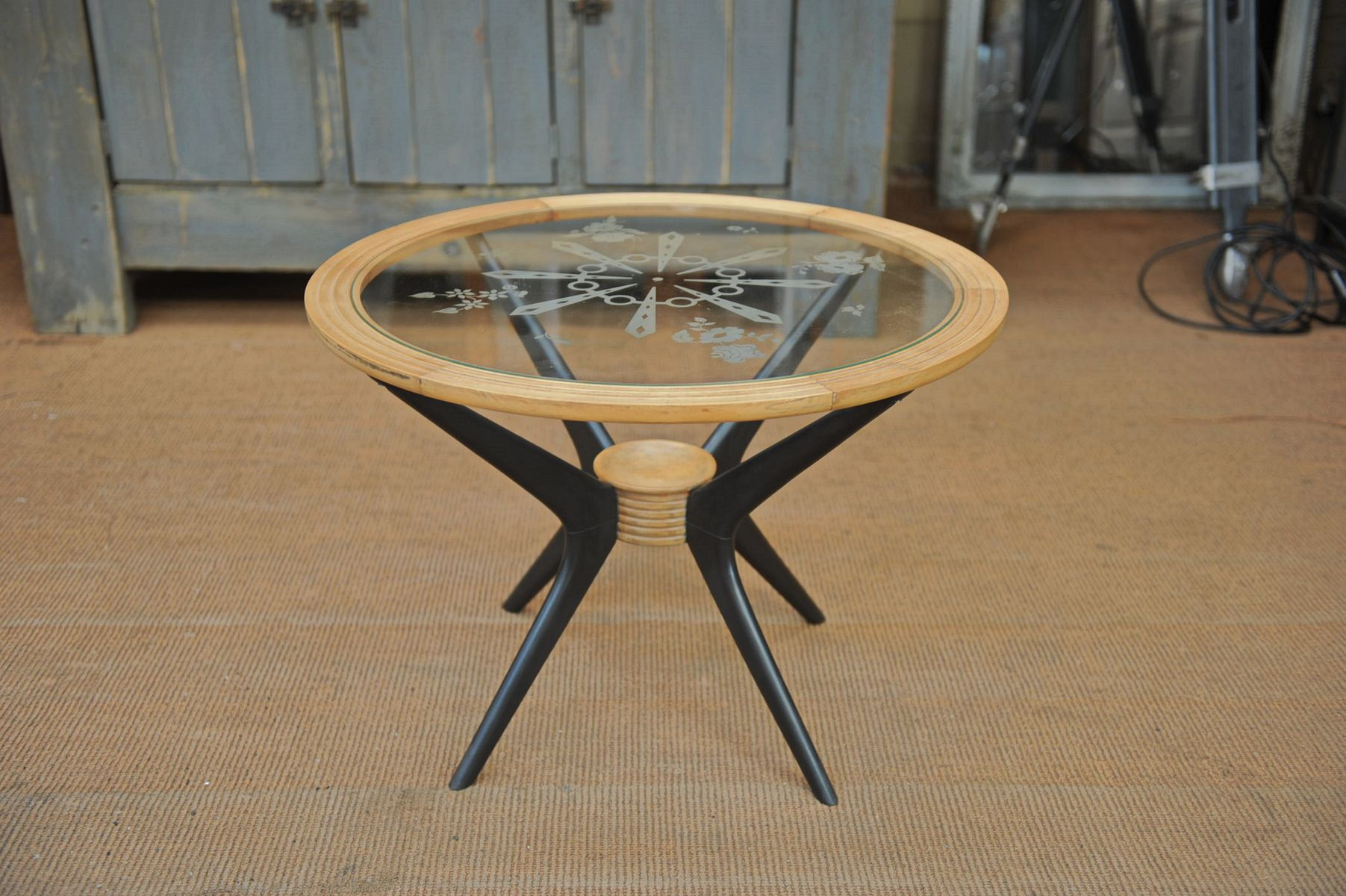 Wooden Coffee Table with Etched Glass Top 1950s for sale at Pamono