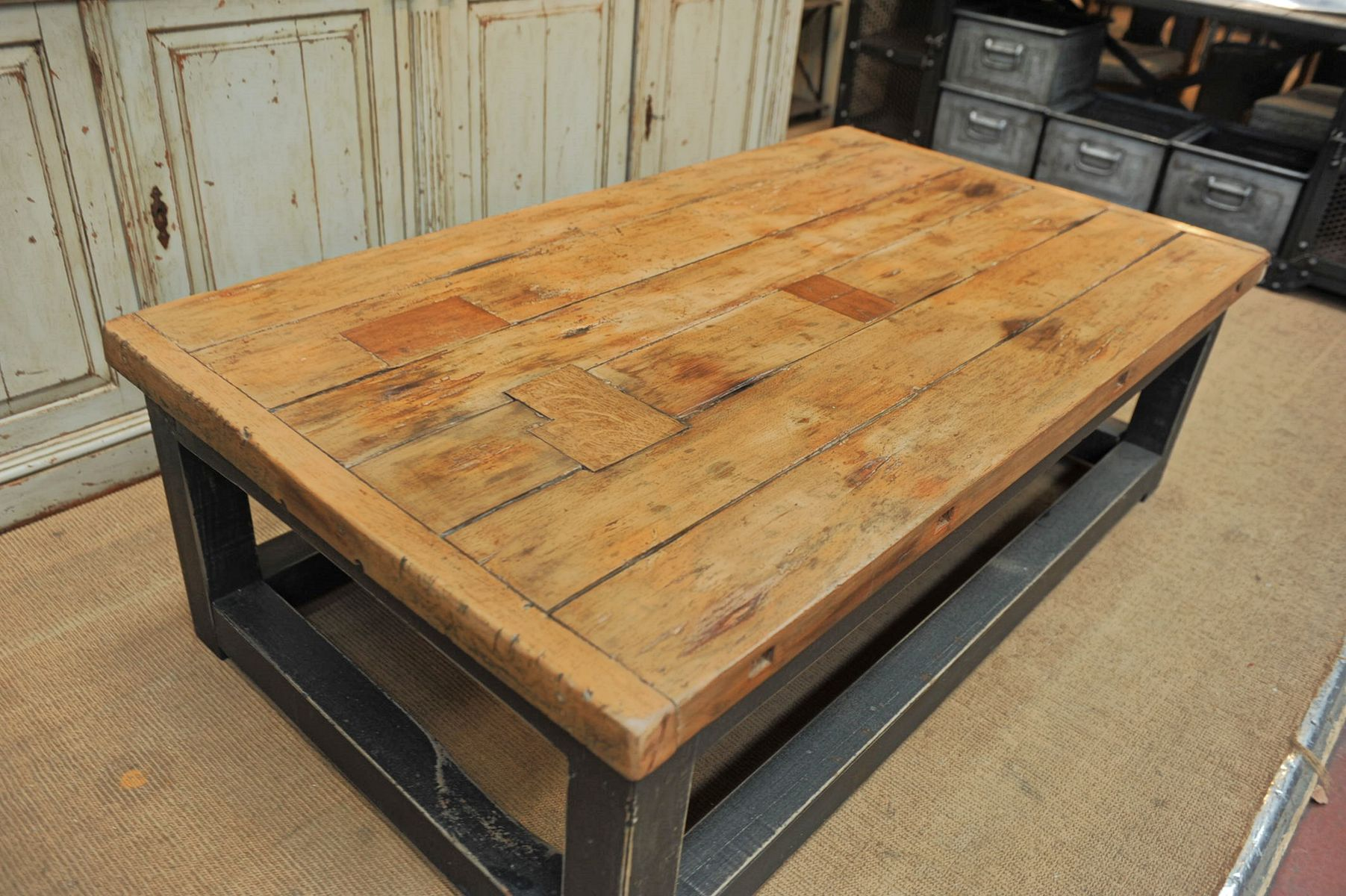 Industrial Bi Colored Wooden Coffee Table For Sale At Pamono
