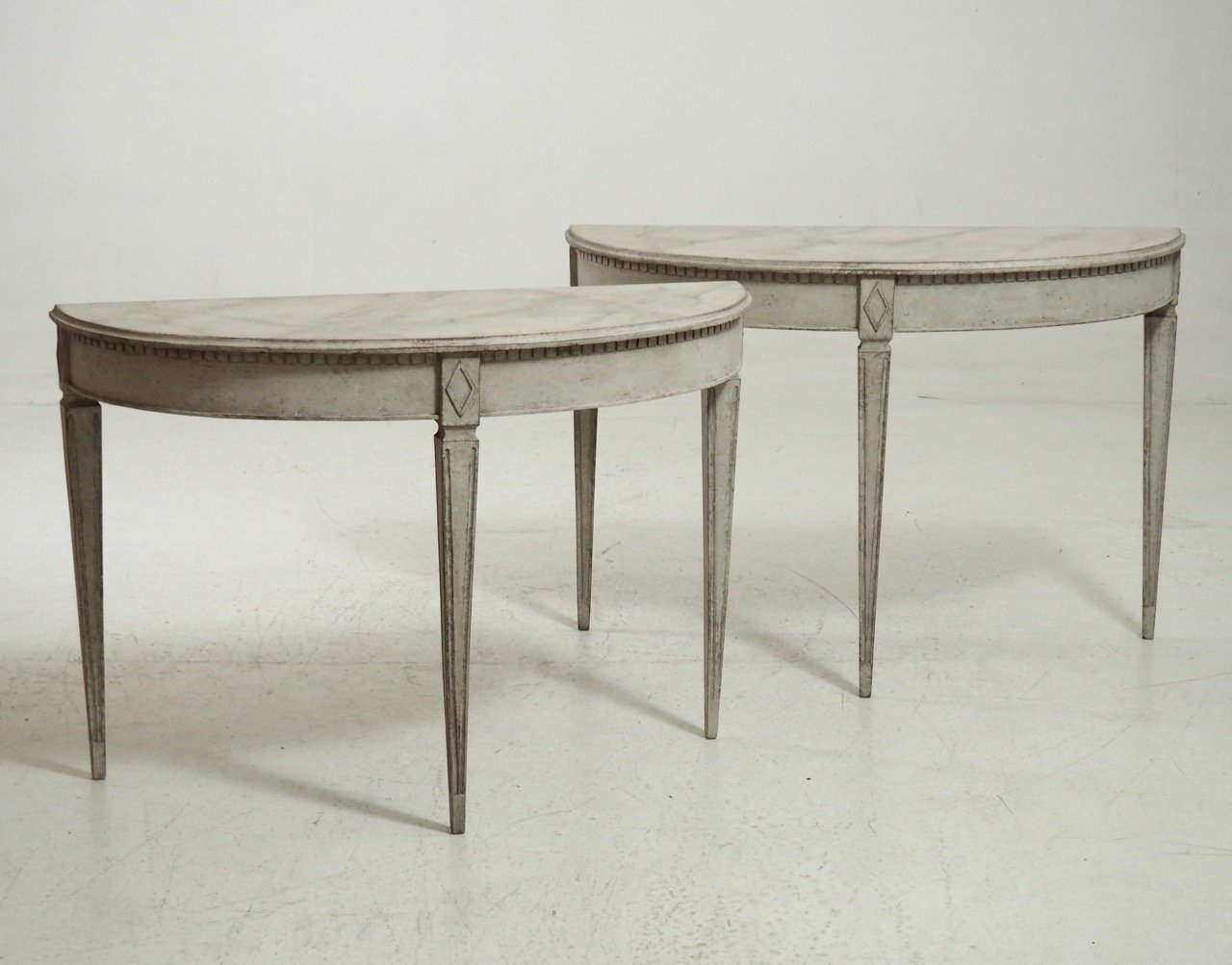 19th century gustavian demi lune tables set of 2 for sale