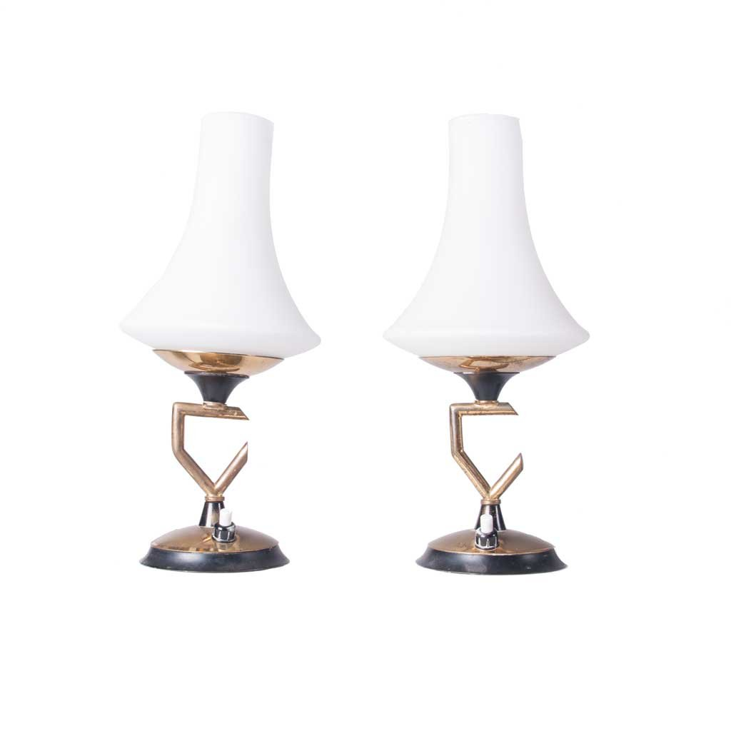 glass and brass table lamps 1950s set of 2 for sale at. Black Bedroom Furniture Sets. Home Design Ideas