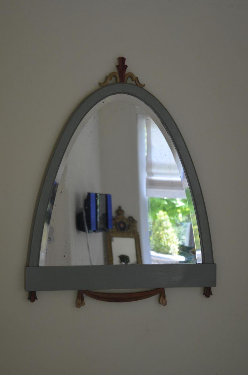 Spiegel mit Holzrahmen und Geschliffenem Glas bei Pamono kaufen