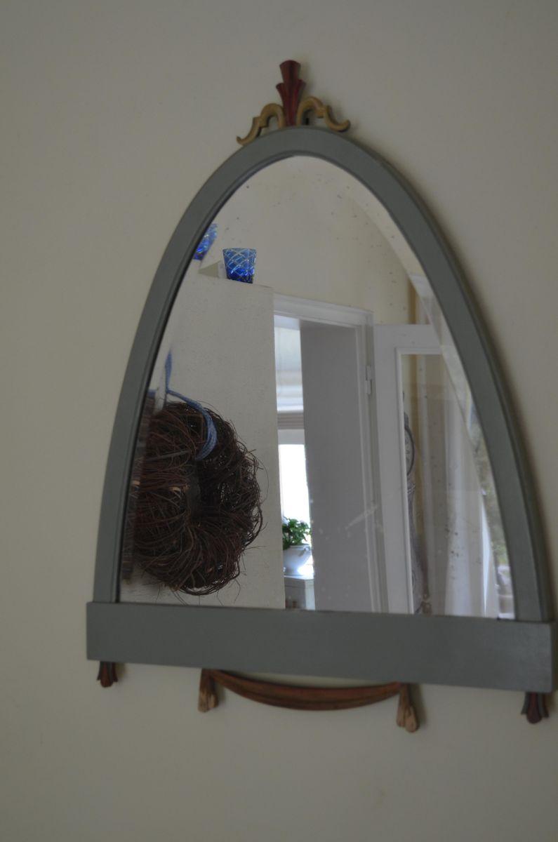 gustavianischer spiegel mit holzrahmen und geschliffenem. Black Bedroom Furniture Sets. Home Design Ideas