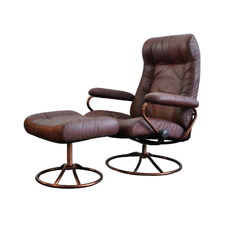 vintage stressless lehnsessel mit hocker von ekornes bei. Black Bedroom Furniture Sets. Home Design Ideas
