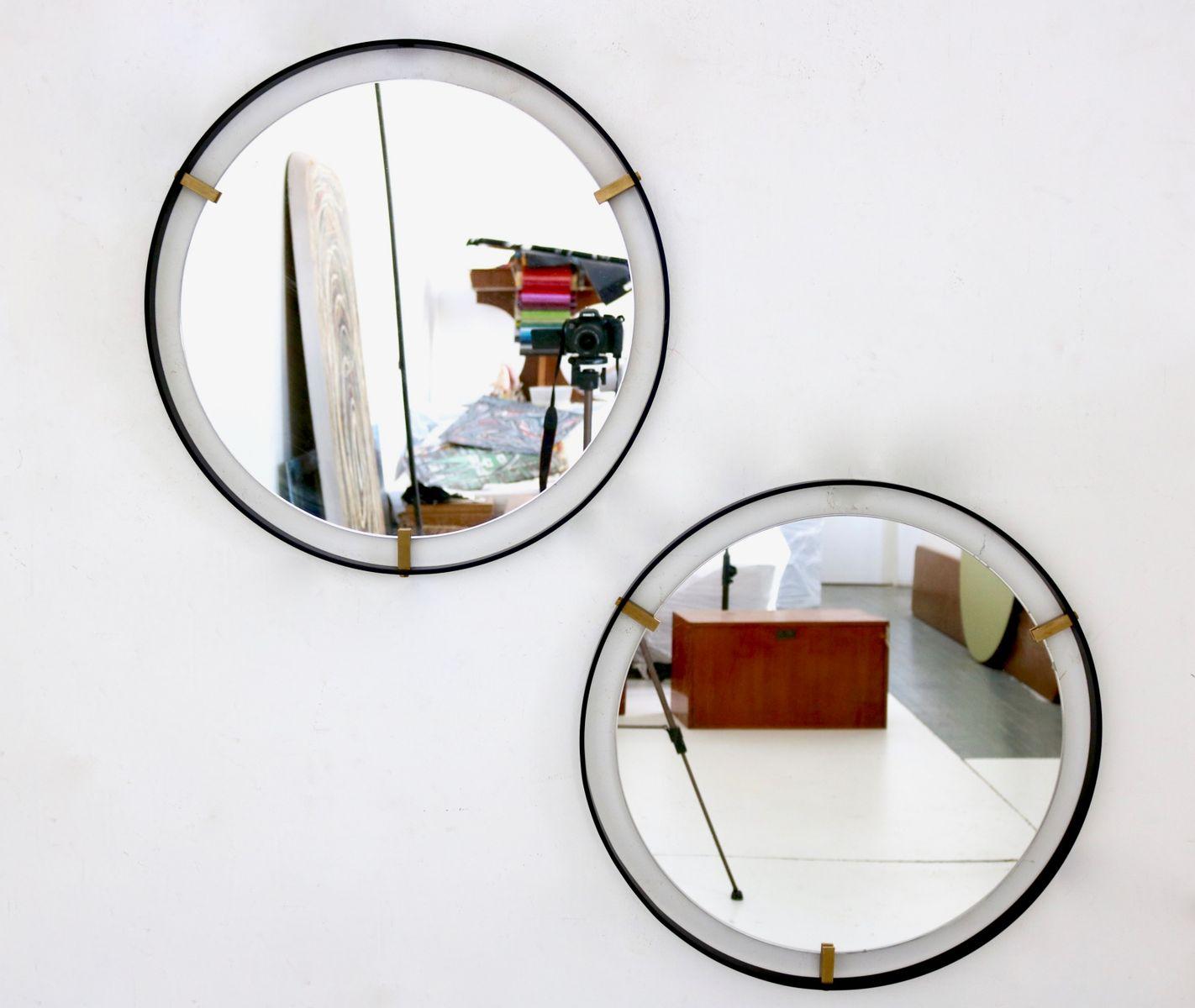 italienische minimalistische spiegel 1950er 2er set bei. Black Bedroom Furniture Sets. Home Design Ideas