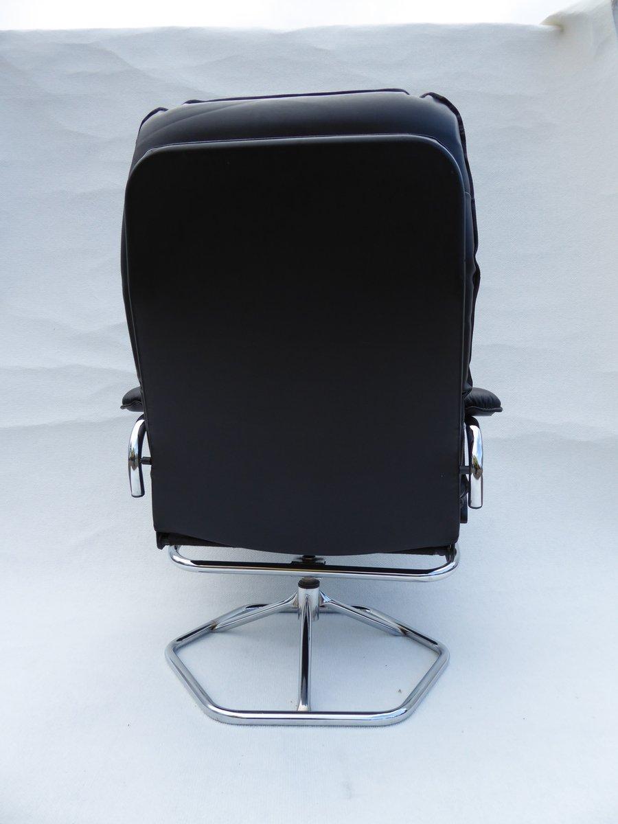 d nischer vintage leder drehsessel aus mit ottoman von. Black Bedroom Furniture Sets. Home Design Ideas
