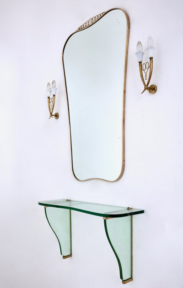 vintage wandspiegel mit ablage von fontana arte bei pamono. Black Bedroom Furniture Sets. Home Design Ideas