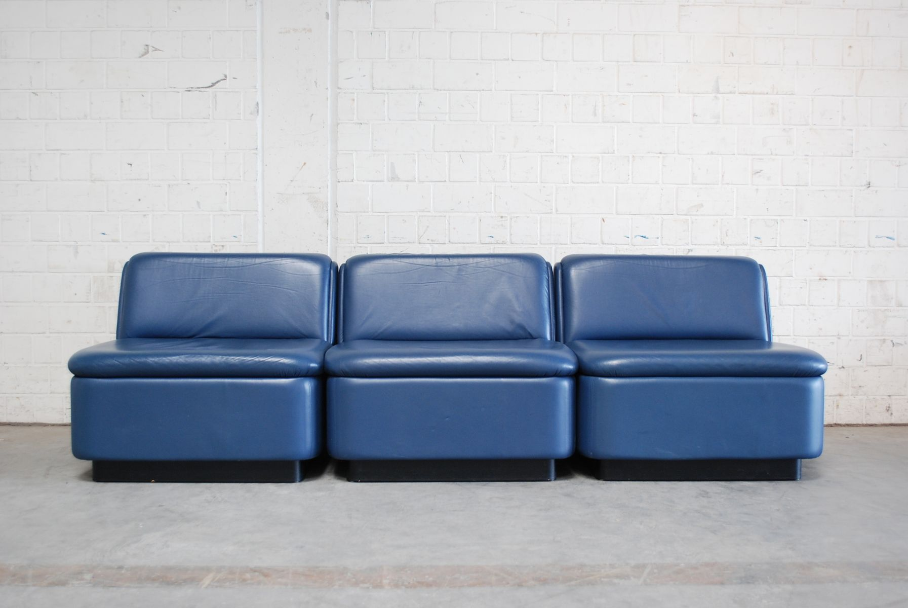 blaues modulares vintage ledersofa 1979 bei pamono kaufen. Black Bedroom Furniture Sets. Home Design Ideas