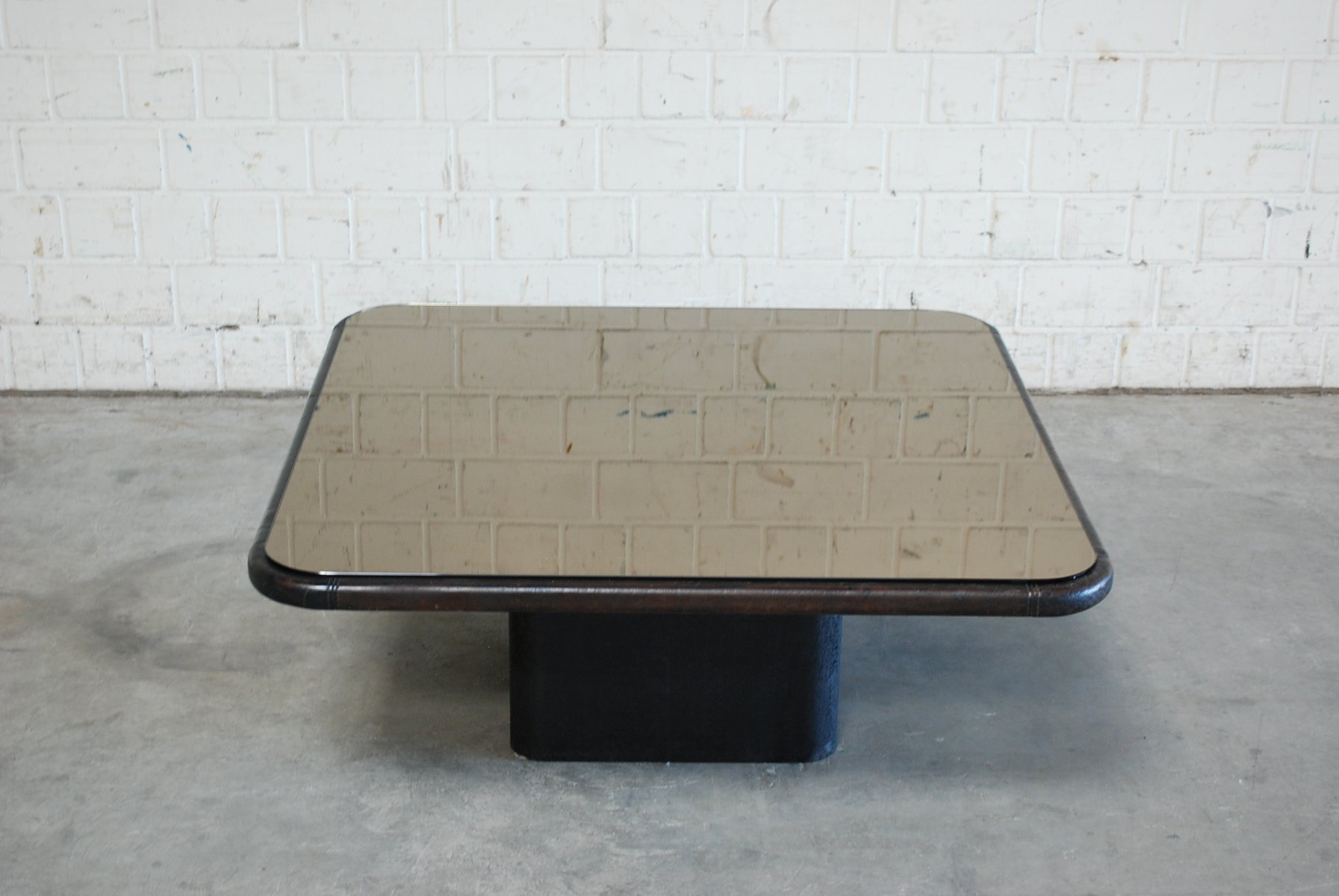 Vintage Mirror Glass and Leather Coffee Table from de Sede for