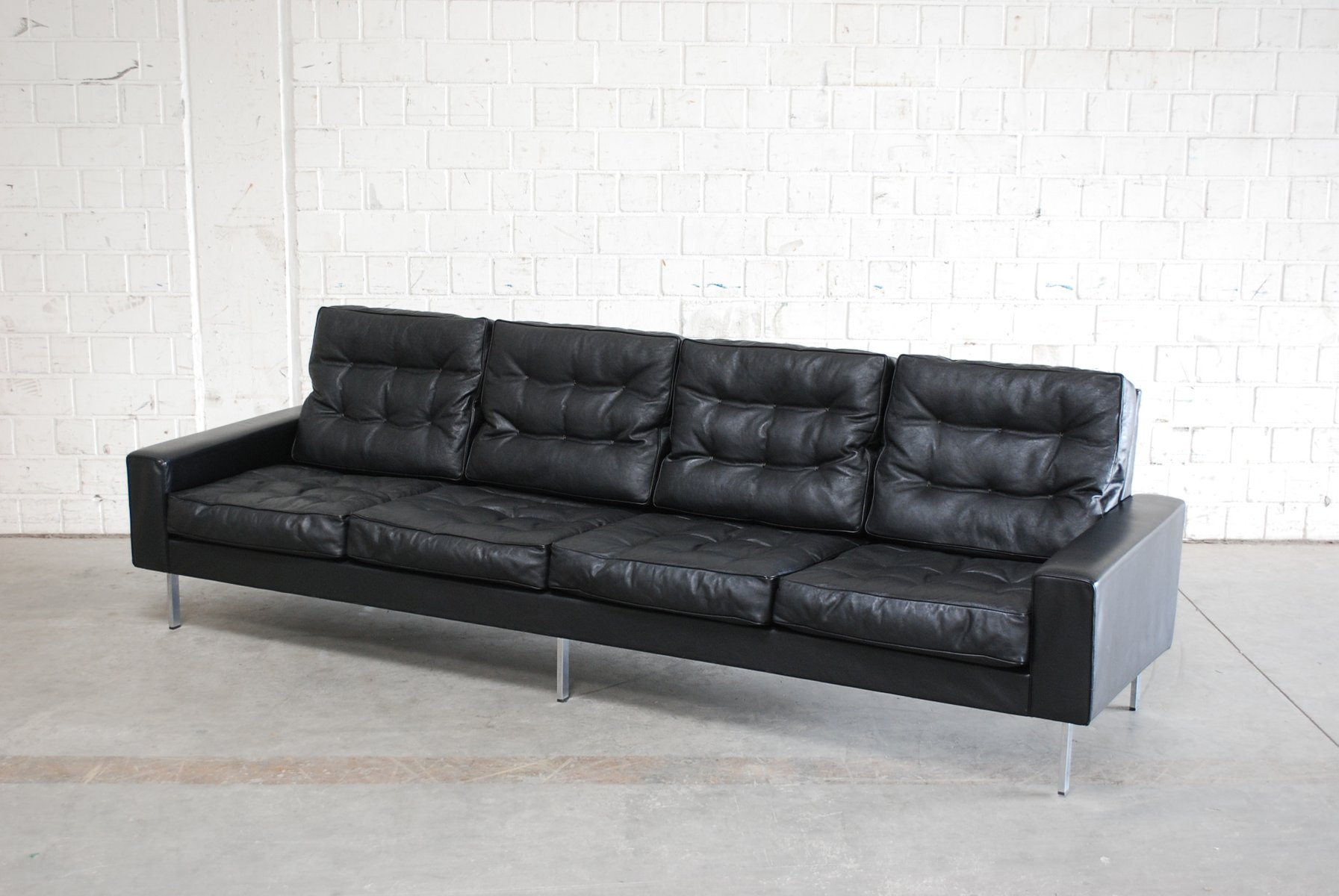 Vintage Black Leather 4 Seater Sofa from De Sede 1967 for sale at