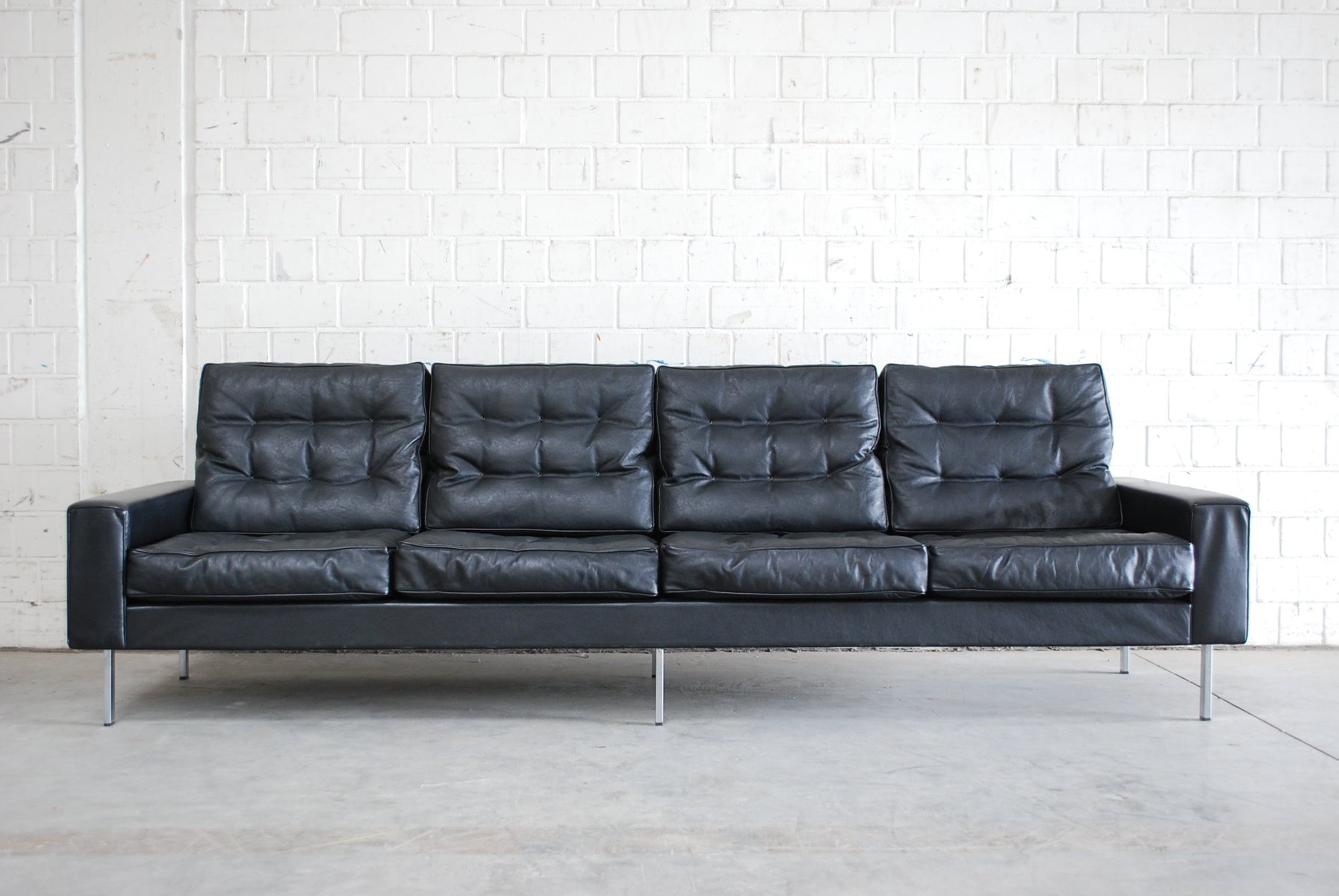 vintage black leather 4 seater sofa from de sede 1967 for. Black Bedroom Furniture Sets. Home Design Ideas
