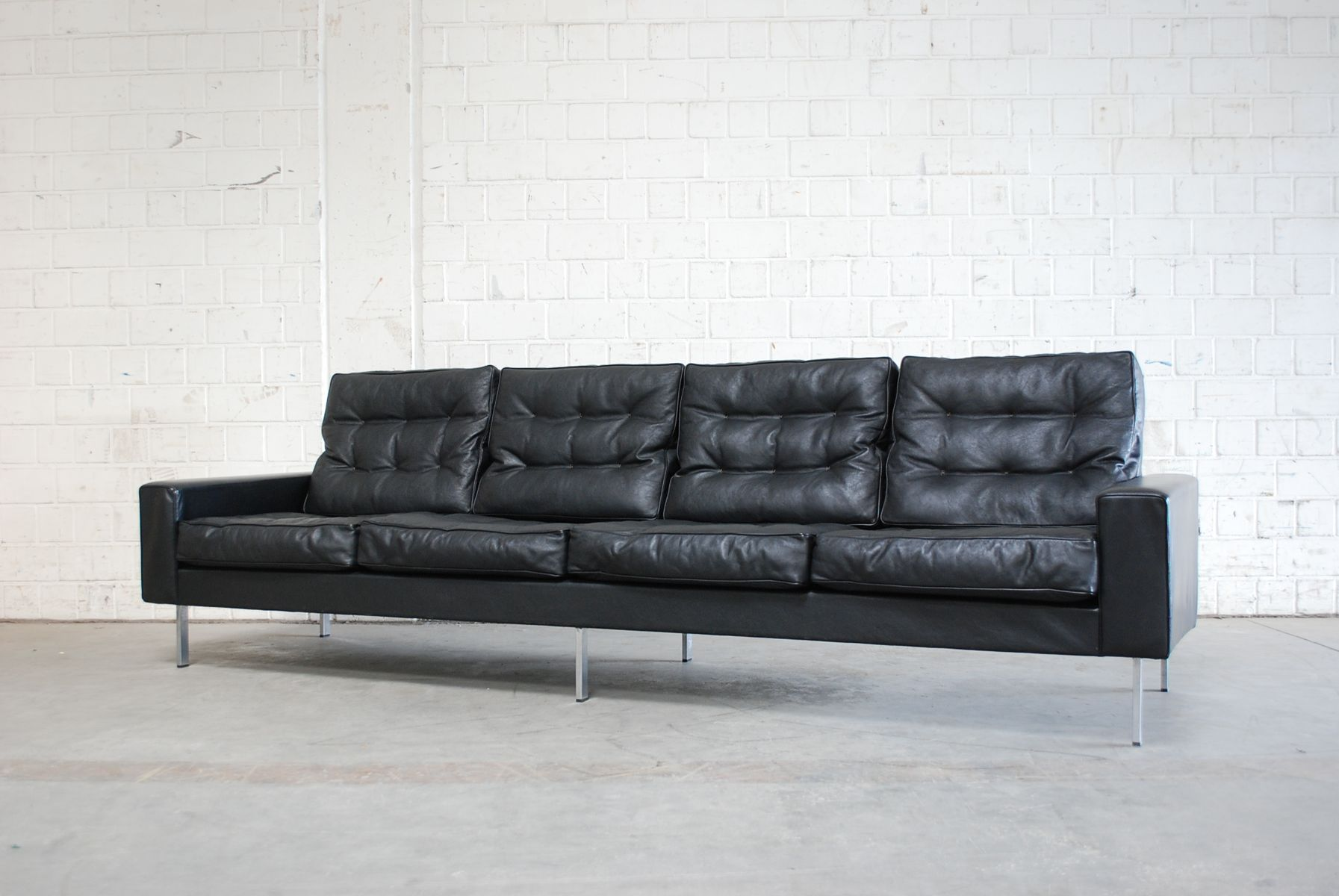 Vintage black leather 4 seater sofa from de sede 1967 for for Leather sofa 7 seater