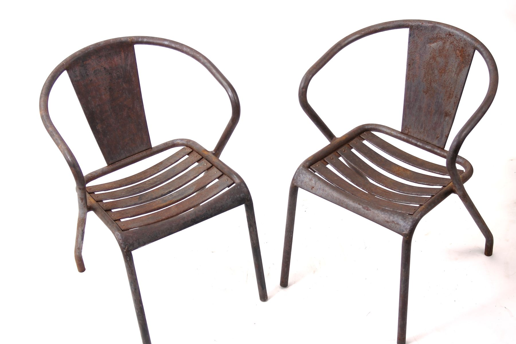 Vintage French FT5 Bistro Chairs by Xavier Pauchard for Tolix Set