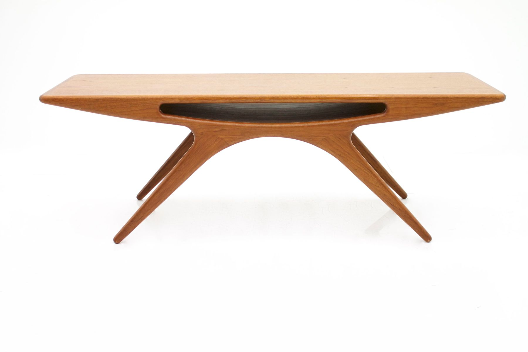 Danish Teak Smile Coffee Table By Johannes Andersen For Cfc Silkeborg 1950s For Sale At Pamono