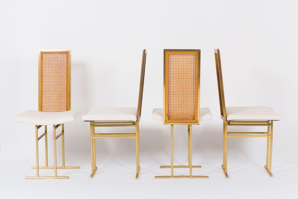 Gilded Metal Beige Velvet Chairs From Flox 1970 Set Of