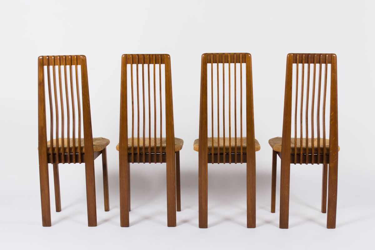 italian oak and straw dining chairs 1950s set of 4