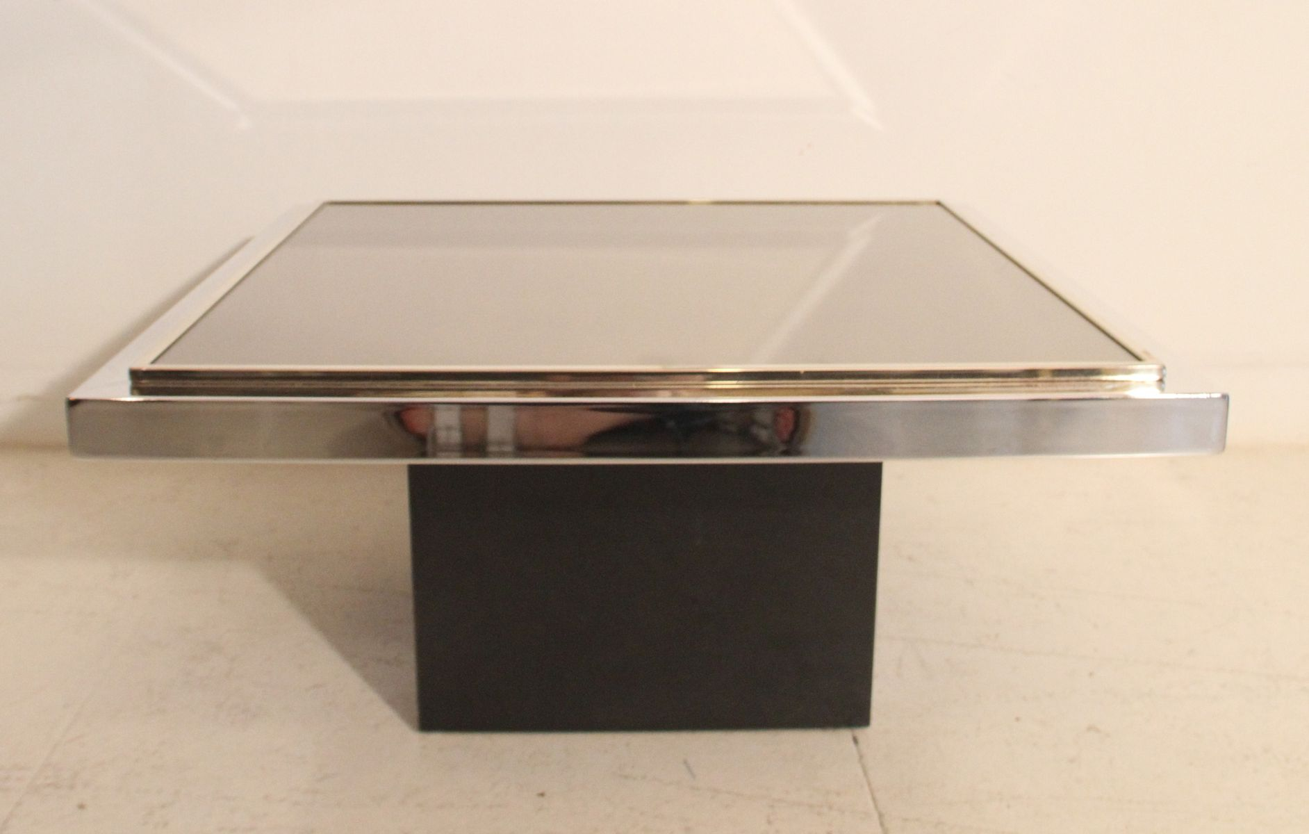 vintage gold plated chromed mirrored coffee table for