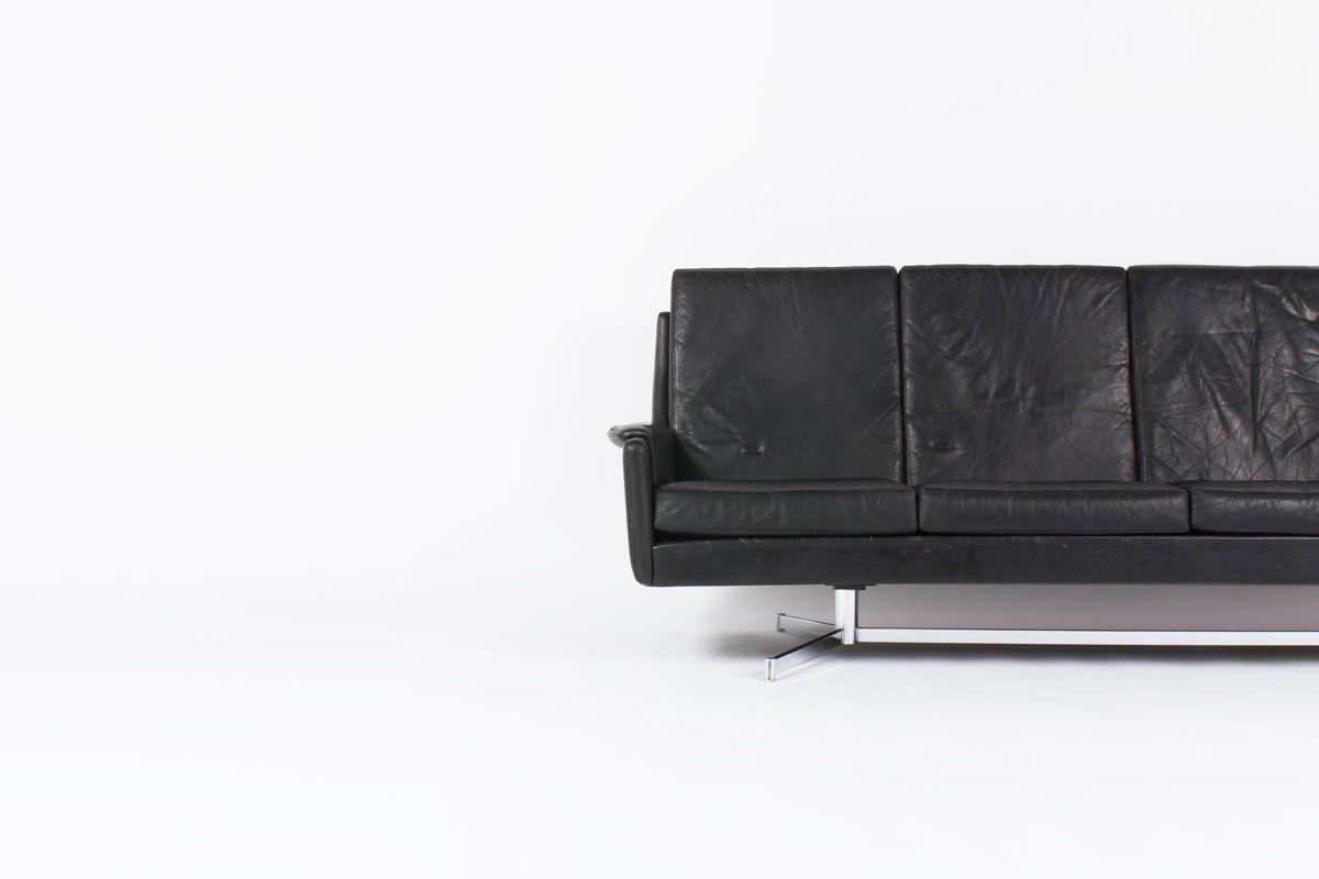 schwarzes d nisches ledersofa 1960er bei pamono kaufen. Black Bedroom Furniture Sets. Home Design Ideas