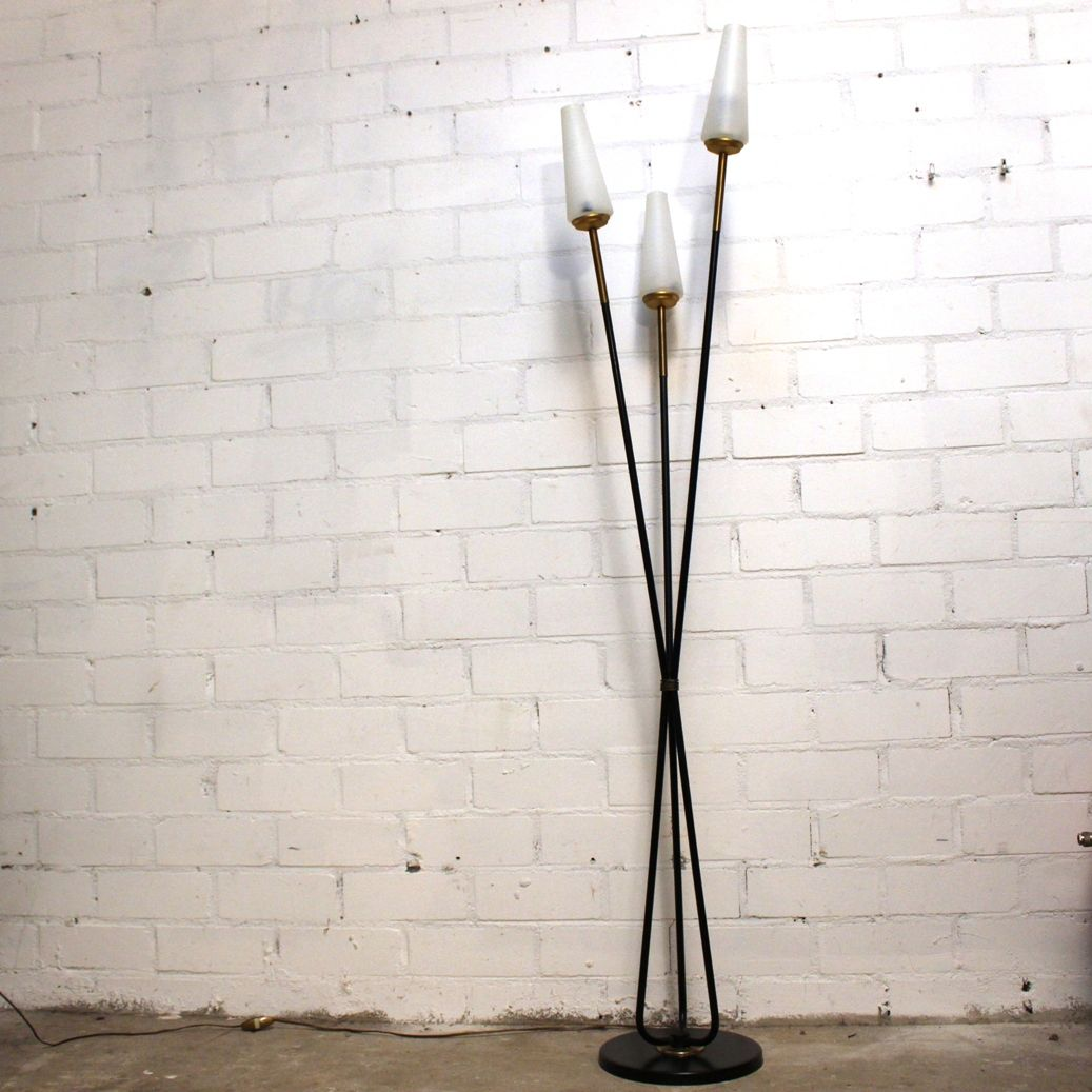 French Three-Light Floor Lamp from Lunel, 1950s for sale at Pamono