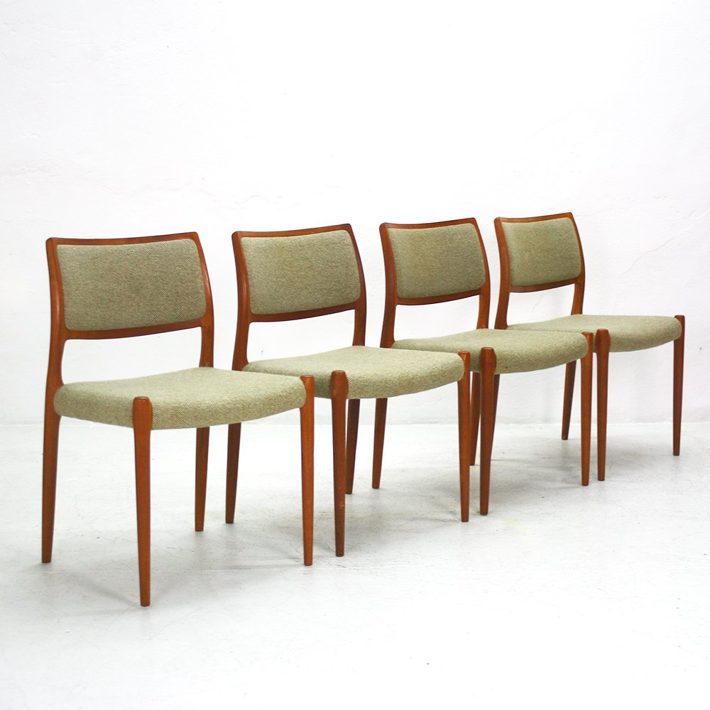 Vintage teak dining chairs set of for sale at pamono