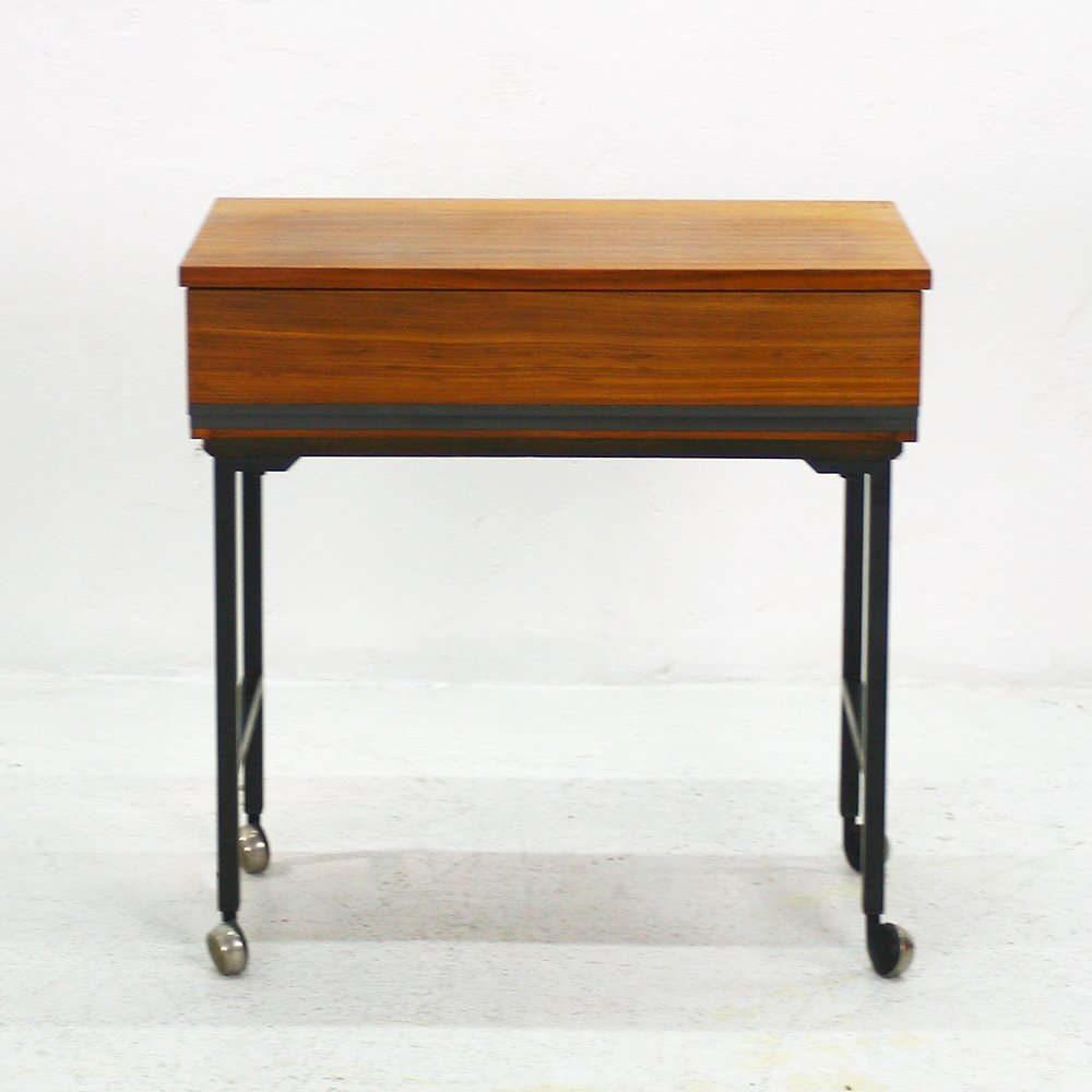 midcentury modern walnut side table with casters for sale at pamono - midcentury modern walnut side table with casters