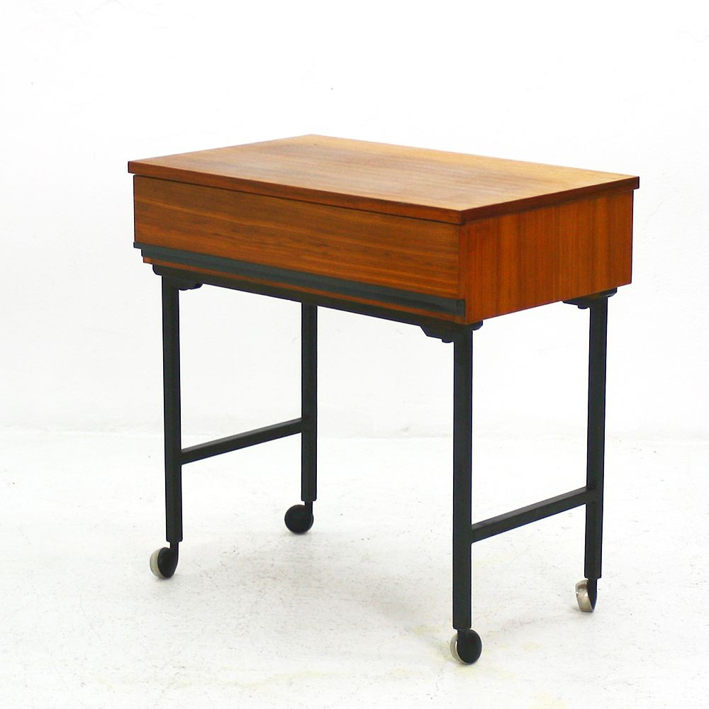 Mid century modern walnut side table with casters for sale Modern side table