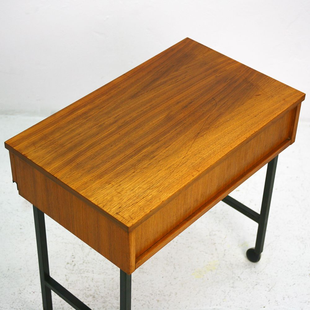 Mid century modern walnut side table with casters for sale for Walnut side table