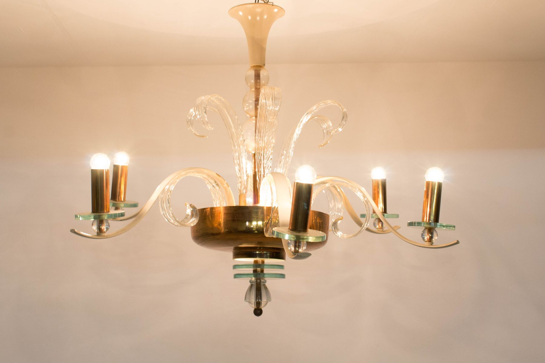 Italian Murano Glass Chandelier, 1940s for sale at Pamono