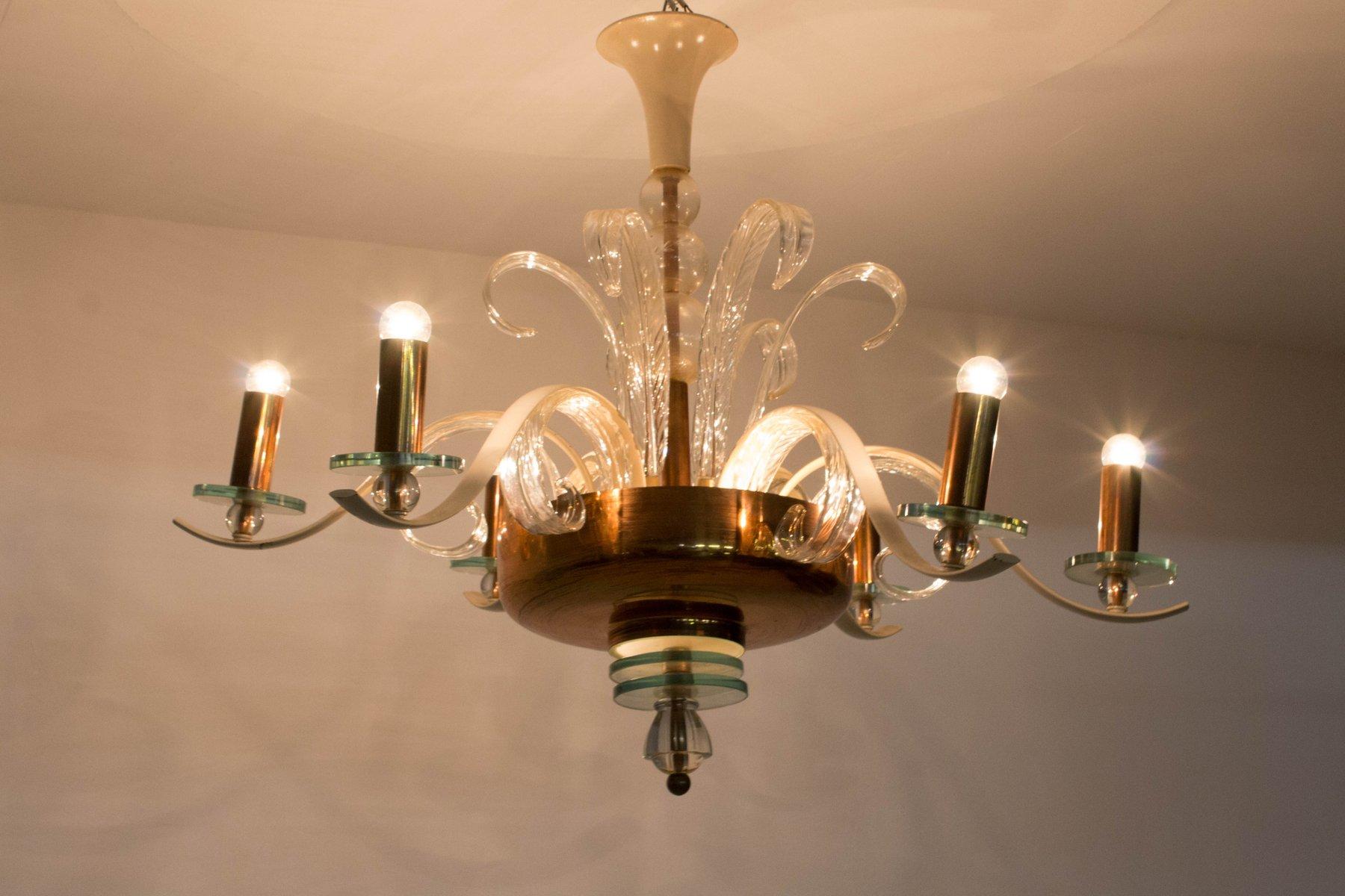 Italian murano glass chandelier 1940s for sale at pamono - Murano glass lighting ...