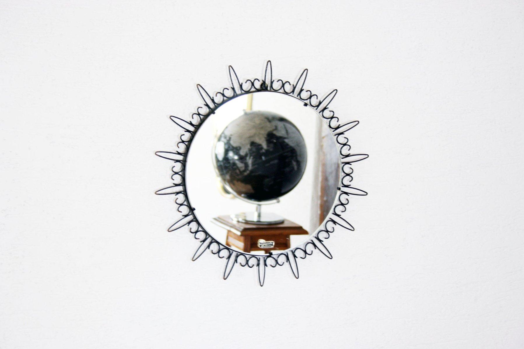 Miroir soleil en m tal noir 1960s en vente sur pamono for Miroir cadre metal noir