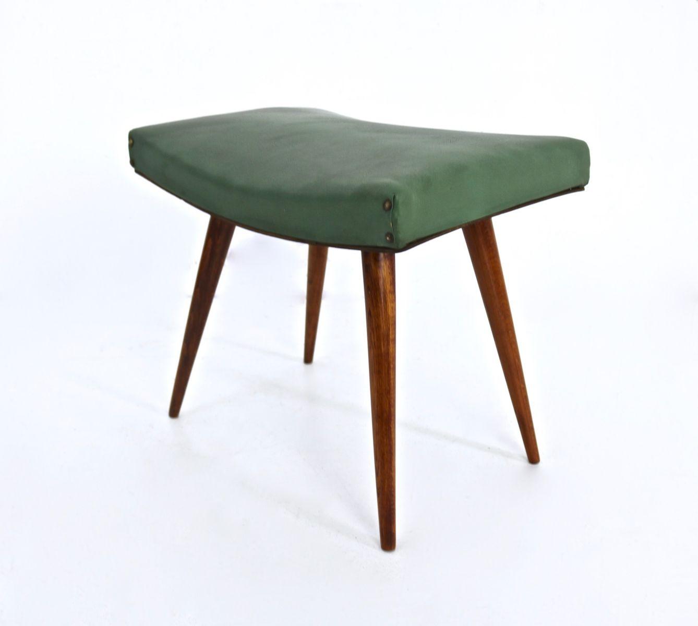 italienischer hocker aus holz gr nem skai 1950er bei. Black Bedroom Furniture Sets. Home Design Ideas
