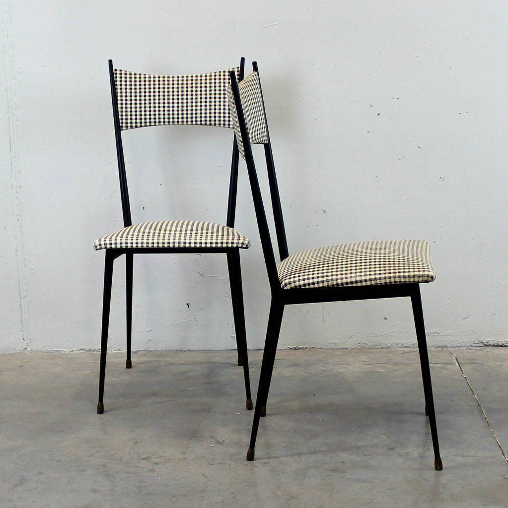 italienische vintage st hle mit gemusterten bez gen 2er. Black Bedroom Furniture Sets. Home Design Ideas