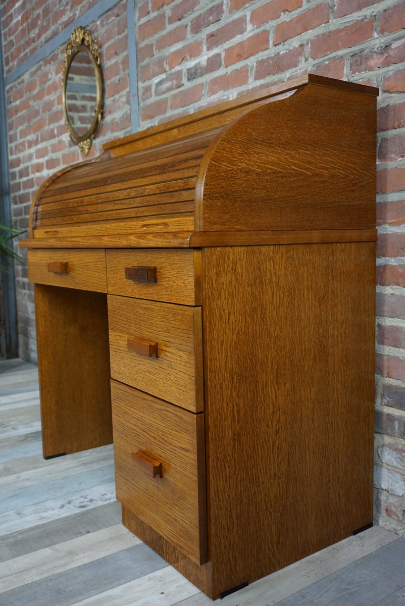 vintage wooden secretaire with tambour top for sale at pamono. Black Bedroom Furniture Sets. Home Design Ideas